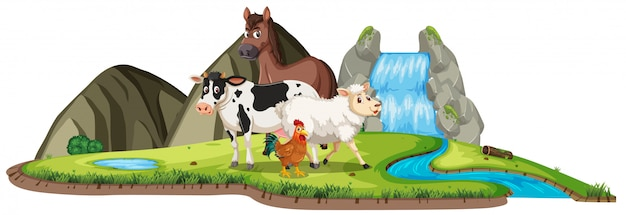 Scene with farm animals standing by the waterfall