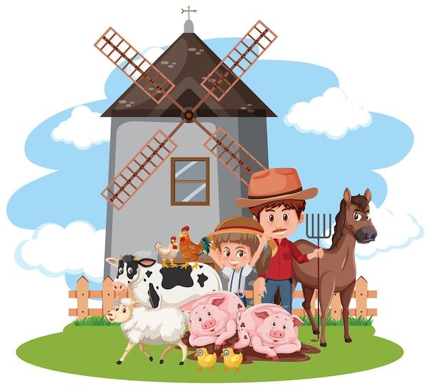 농장에서 농부와 많은 동물이있는 장면