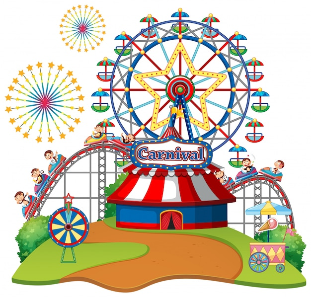 Scene with ferris wheel and monkeys on the rides on white background