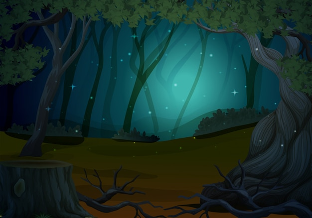 Scene with fireflies in forest at night