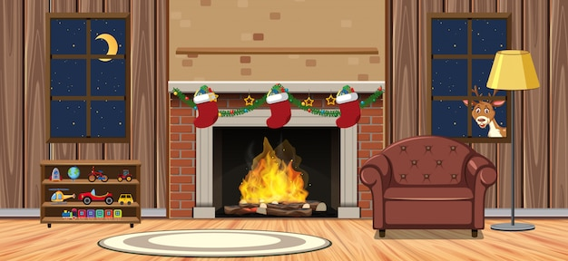 Scene with fireplace in big living room