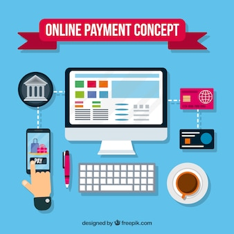 Scene with flat elements about electronic payment