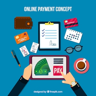 Scene with flat elements about online payment