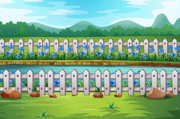 フィールドで花とフェンスのシーン