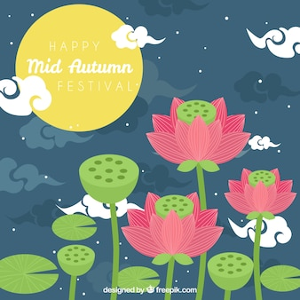 Scene with flowers, mid autumn festival