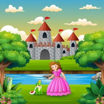 Scene with frog prince and princess on the edge of the river
