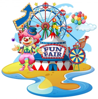 Scene with funny clown at fun fair on white background