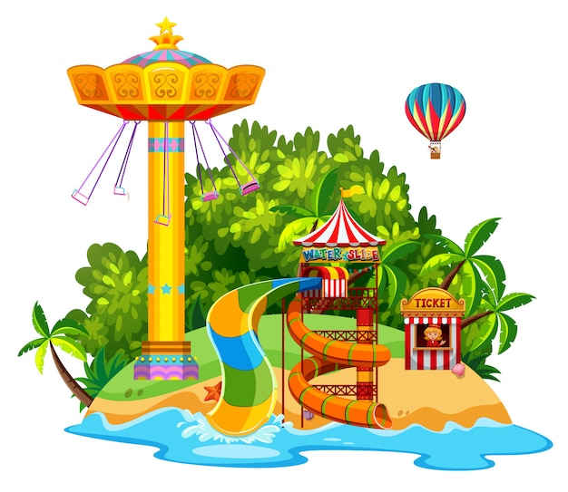 Scene with giant swing and waterslide on the island