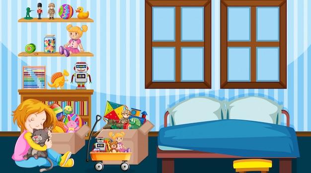 女の子と猫が部屋で遊んでいるシーン