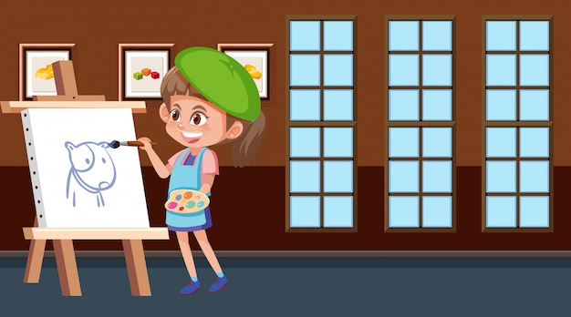 Сцена с изображением девушки на холсте