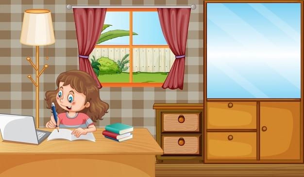 Сцена с девушкой, работающей над домашней работой дома