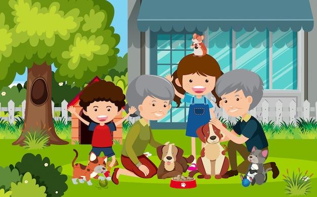 祖父母と庭で子供たちとのシーン