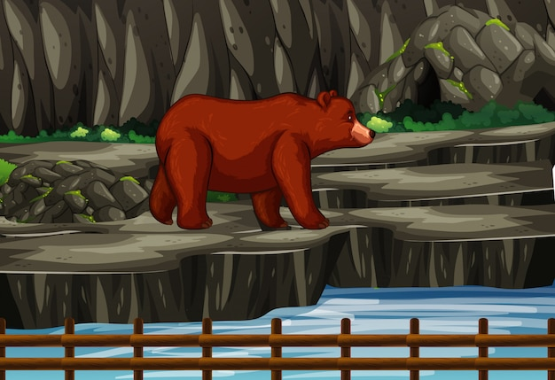 Scene with grizzly bears in the mountain
