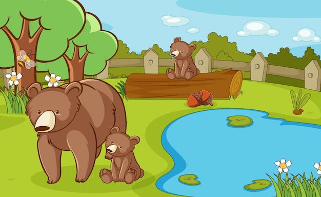 Scene with grizzly bears in the park