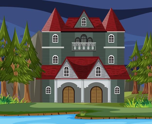 Сцена с хэллоуинским особняком с привидениями ночью