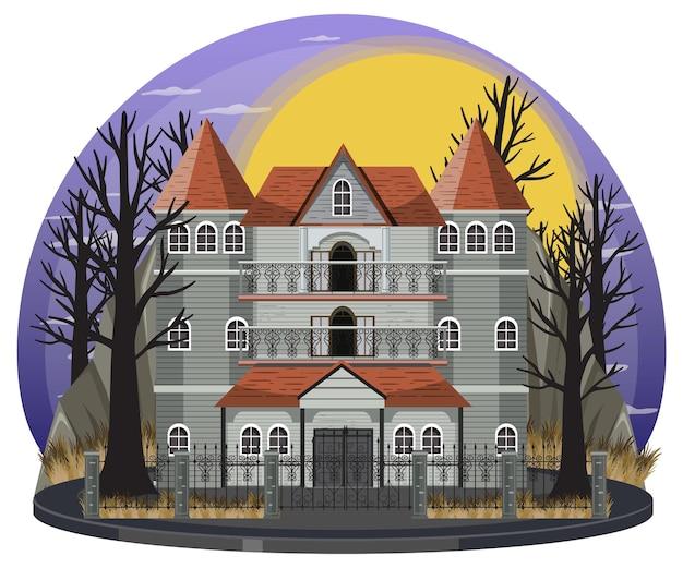 밤에 할로윈 유령의 저택이 있는 장면