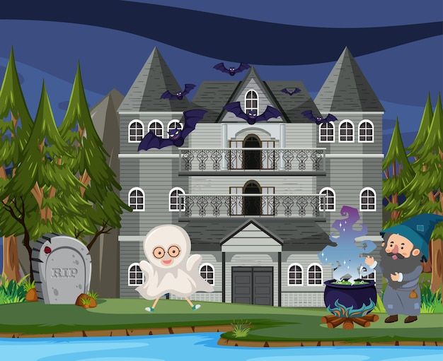 Scene with halloween haunted mansion at night