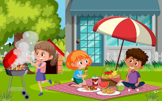 Scene with happy children eating food in the park