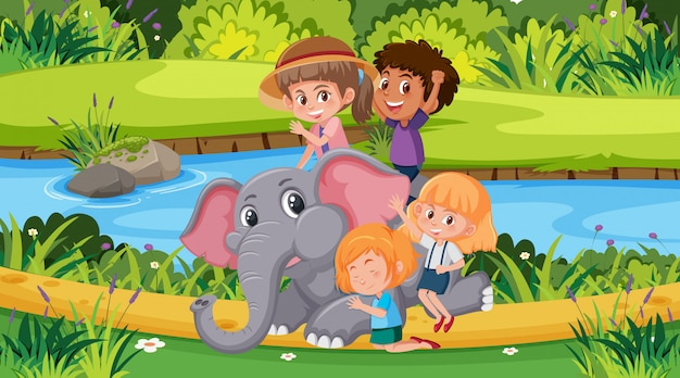 Scene with happy children and elephant in the park