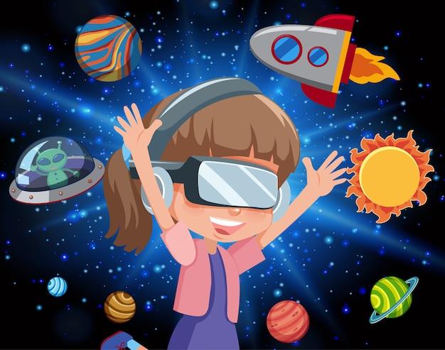 Сцена со счастливой девушкой и летающим в галактике космическим кораблем