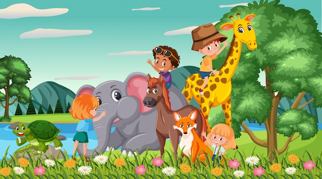공원에서 행복한 아이들과 동물들과 함께하는 장면