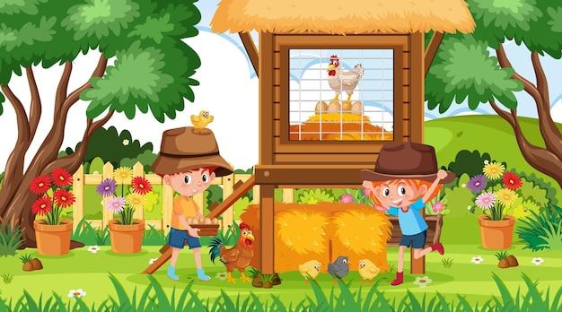 낮 시간에 정원에서 행복한 아이들이 노는 장면