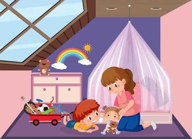 幸せなママと子供たちが自宅でいるシーン
