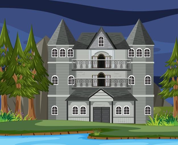 Сцена с призрачным особняком на хэллоуин