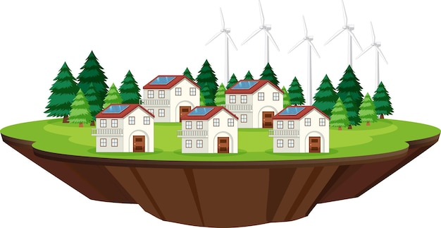 屋根に家と太陽電池があるシーン