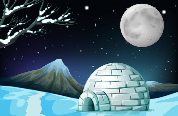 Scene with igloo on fullmoon night