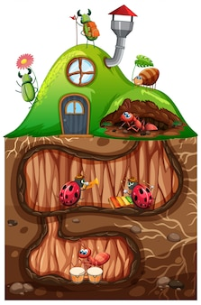 Scene with insects in the underground hole