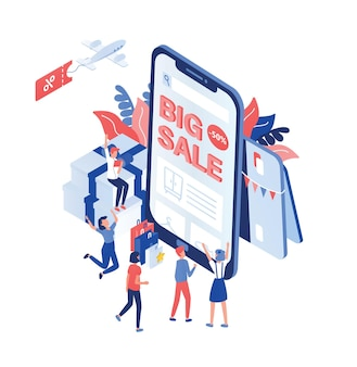 Scene with joyful customers or buyers standing in front of giant smartphone with big sale text on screen.