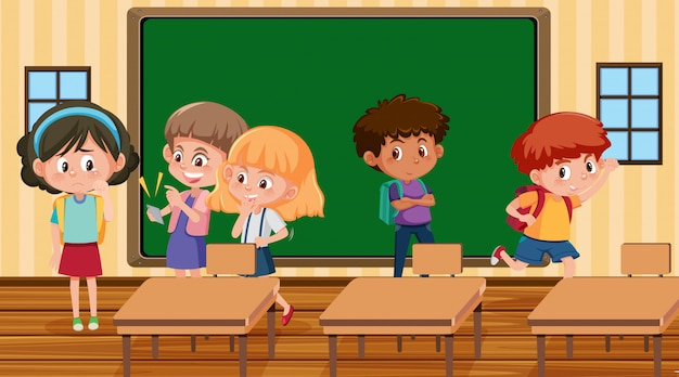 Scene with kid bullying their friend in classroom