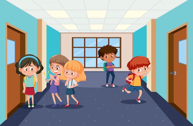Scene with kid bullying their friend at school