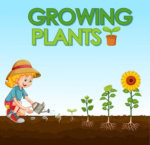 Scena con il bambino che pianta gli alberi nel giardino