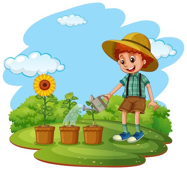 Сцена с ребенком, сажающим деревья в саду