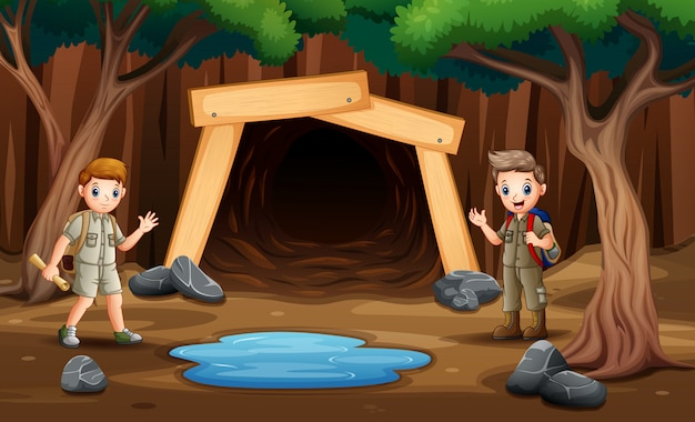 Scene with kids in front the mine illustration