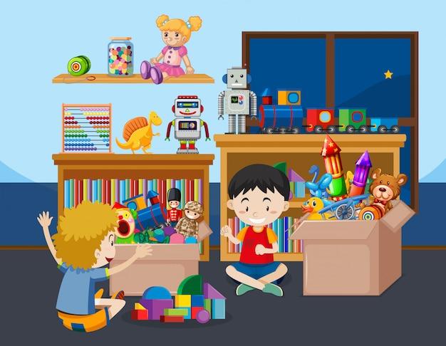 部屋で遊ぶ子供たちのシーン 無料ベクター