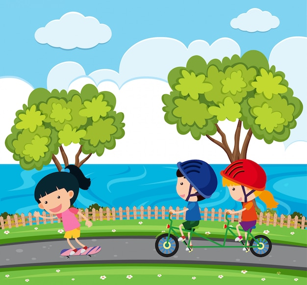 Scene with kids riding bike in the park
