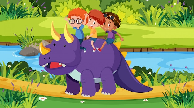 Scene with kids riding dinosaur in the park