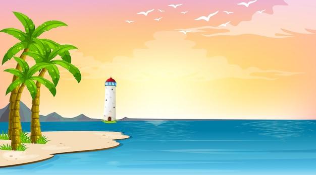 海の真ん中に灯台があるシーン