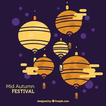 照明付きのシーン、秋の祭り中期