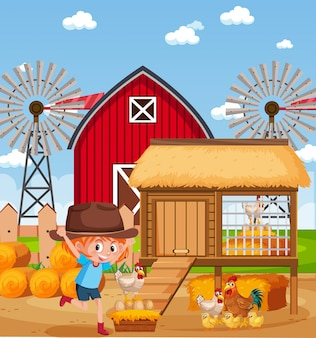 Scene with little girl and chickens on the farm