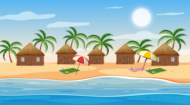 Scene with little huts on the beach at day time