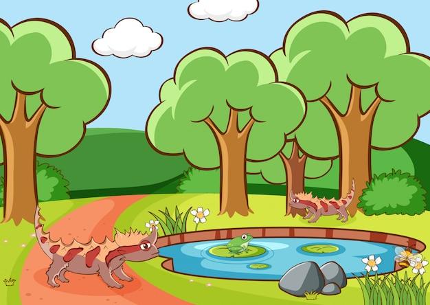 公園でトカゲのシーン