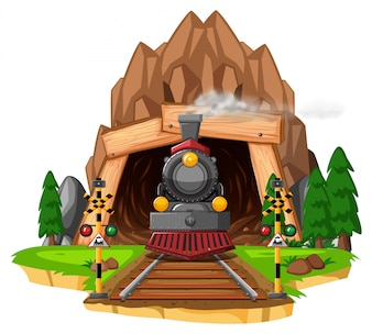 Scene with locomotive on railroad