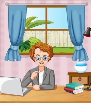 집에서 방에있는 컴퓨터에서 작업하는 사람과 장면