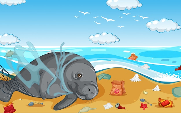 Scene with manatee and plastic bags on the beach