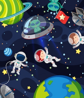 Scene with many aliens and astronauts in the space