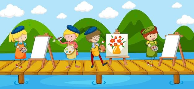 Scena con molti personaggi dei cartoni animati dell'artista sul ponte che attraversa il fiume